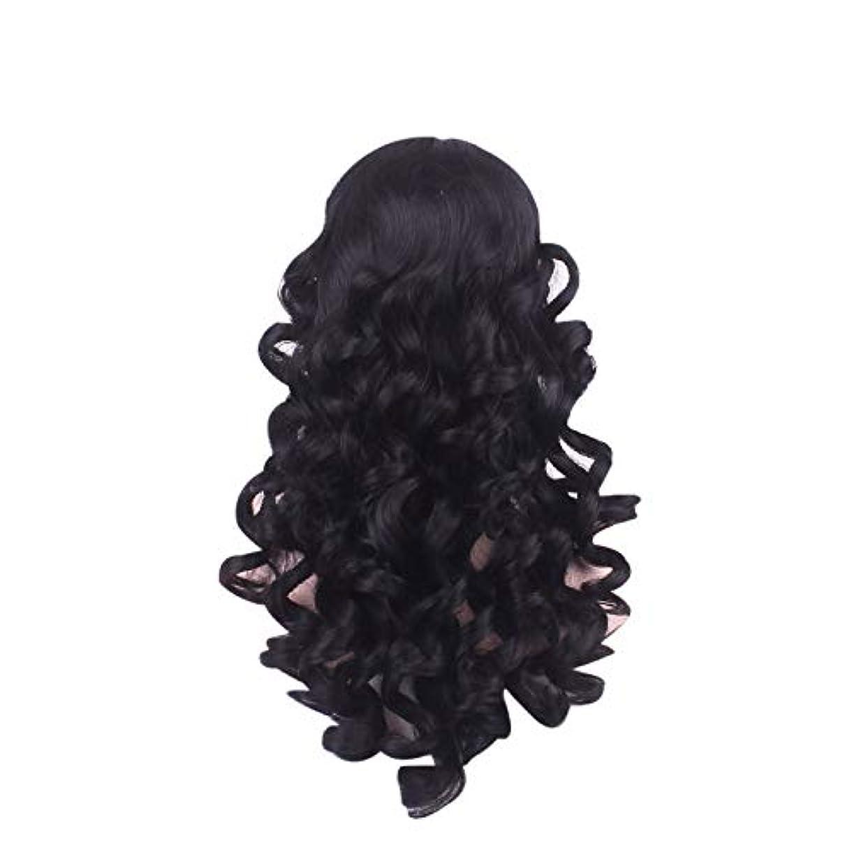 気性オリエンテーション島女性の長い巻き毛のファッションかつらローズネット65 cm
