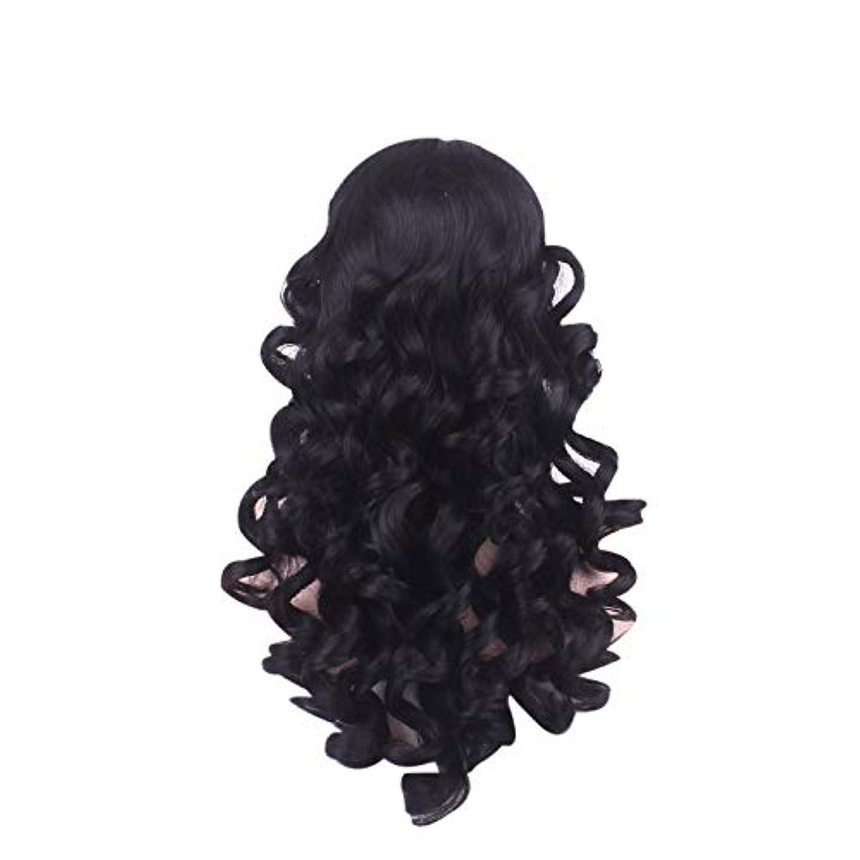 海時間ダウンタウン女性の長い巻き毛のファッションかつらローズネット65 cm
