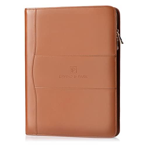 Epping & Park Business Leather Portfolio | Handmade Italian Design | Full Grain Leather Zippered Padfolio Folder | Executive Leather Portfolio for Men...