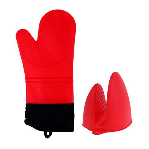 SM SunniMix 2pcs Guantes de Aislamiento de Cocina Guantes de Silicona para Horno Microondas Antideslizantes - Rojo, 36x17x2cm
