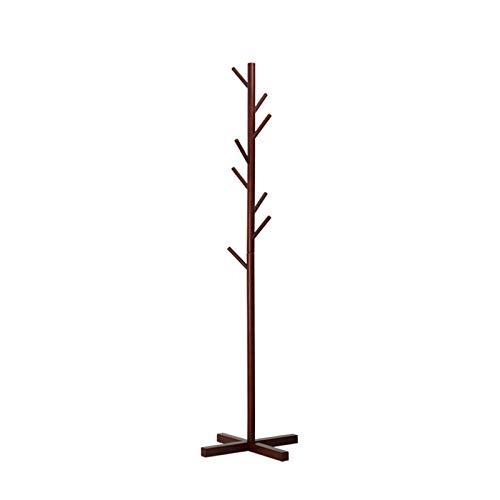 Perchero de madera maciza resistente, soporte para abrigos, 8 ganchos, desmontable para colgar sombreros, cartera, color curry 47,8 x 163,8 cm