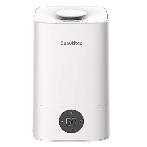 BPT 4.5L Ultraschall Luftbefeuchter Top-Füllung Wassertank Digitalanzeige 300ml / h,bis zu 20-80m²,3 Nebelmodi Niedrigwasserschutz