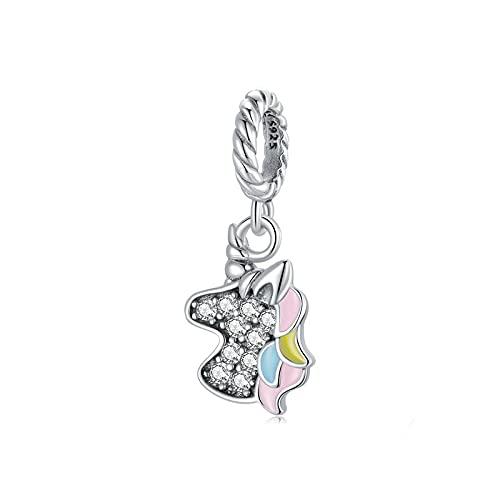LIJIAN DIY 925 Sterling Jewelry Charm Beads Colgante De Circonita De Pony De Colores Hacer Originales Pandora Collares Pulseras Y Tobilleras Regalos para Mujeres
