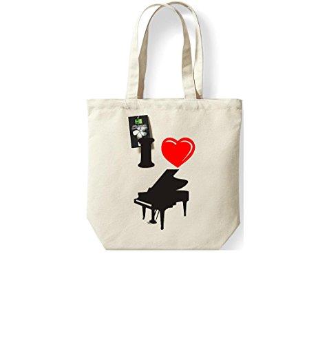 Krokodil Fairtrade Stoffbeutel I love Klavier Piano Musik Baumwolltasche, Beutel, Shopper Umhängetasche, Farbe natur