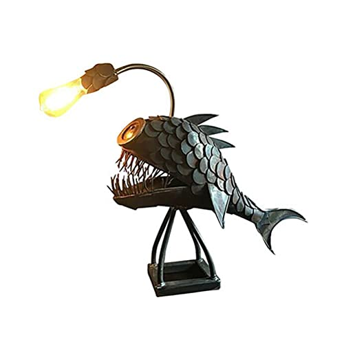 Bozaap Lámpara de escritorio vintage para mesita de noche, lámpara de pescado, estilo retro con cabeza flexible, lámpara de mesa artística para dormitorio, sala de estar, oficina, iluminación