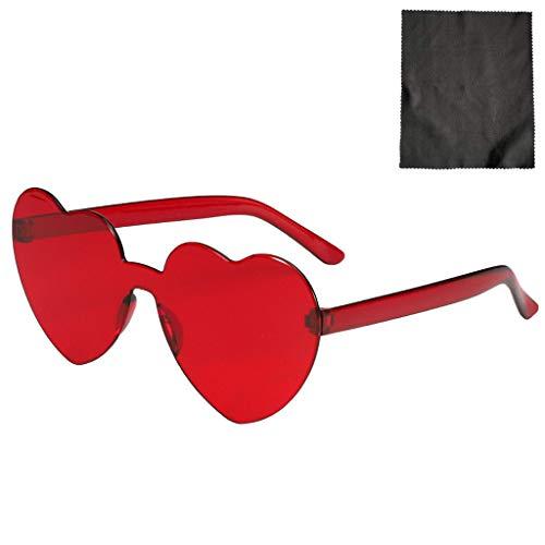 Herzform Sonnenbrille Damen Sommer UV Retro Randlos Gläser Brille Mode Hochzeit Party Brille Herzbrillen für Valentinstag Karneval (C)