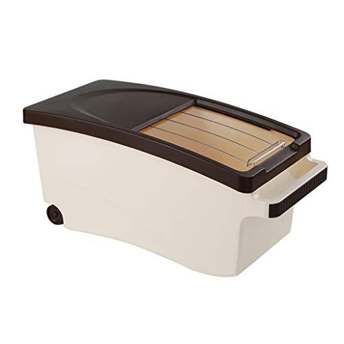 Kitchen Storage Box voedsel opslag container - Plastic Duw-Trek rijst emmer - verzegelde Fresh-Keeping - kan worden geladen met rijst/meel/bonen 46.8X21.2X21.7cm B