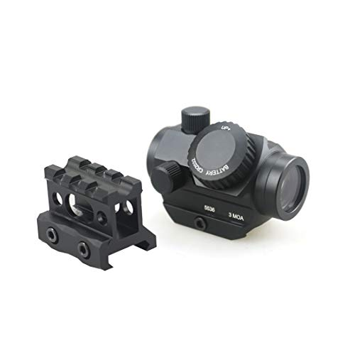 """Pinty 3 MOA Red Green Dot Sight Brightness Button Control with 1 inch High Mount Compact Red Dot Scope 1"""" Riser Mount for Cowitness with Iron Sights Waterproof and Shockproof"""