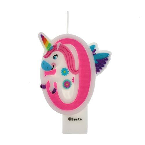 Velas de Cumpleaños Diseño Unicornio de 9cm, Adecuadas para fiesta de Cumpleaños para Niños Niñas Color Rosa blanca Numero 0