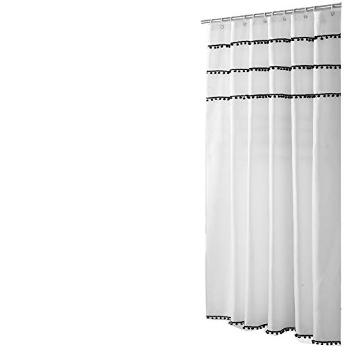 Sfoothome White Shower Curtain with Black Ball Tassel, Waterproof Bathroom Curtains,White(72 x 72)