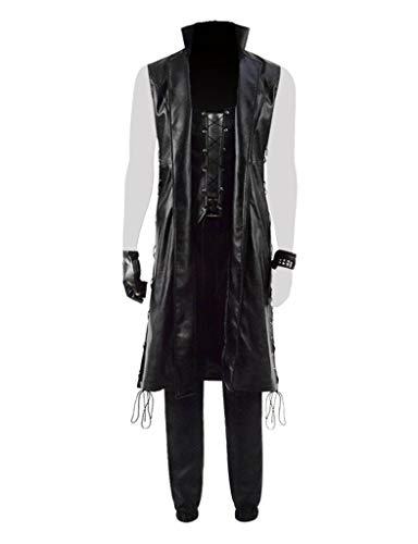 DMC 5 Mens Lace-up Sleeveless Leather Coat Devil May Cry V Hunter Costume Cosplay Outfit (L, Black Outfit)