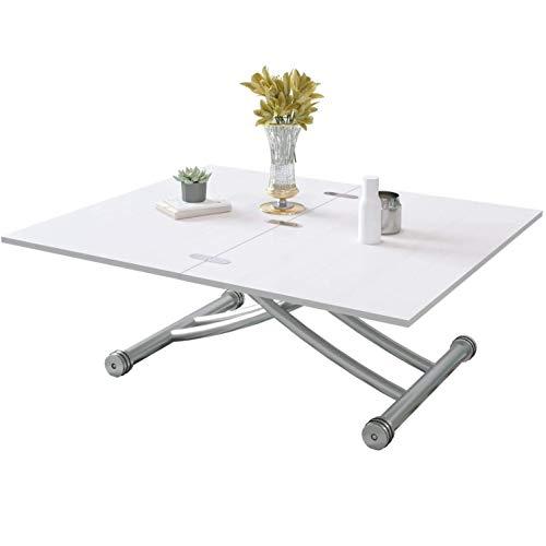 Beliwin - Mesa de centro elevable, altura ajustable, mesa de comedor, color blanco