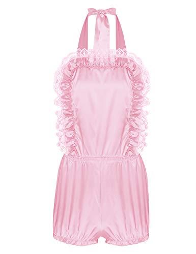 YiZYiF Men's Adult Sissy Baby Satin Frilly Crossdressing Romper Ruffled Bloomers Bodysuit Pink Large