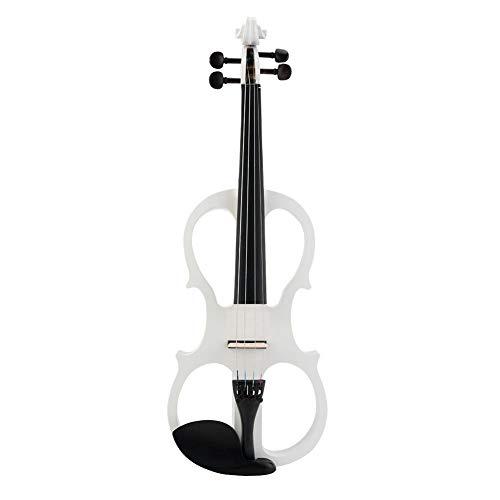 Violino elettrico professionale dal suono brillante, violino elettrico 4/4, tono preciso per studenti principianti(white)