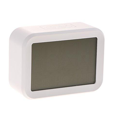 SunniMix LCD digital snooze väckarklocka bordsklocka ljudanläggning termometer, tillverkad av plast – vit