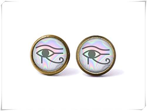 sea-maiden Pendientes de tuerca de ojo místico de Horus, joyería egipcia, joyería bohemia, joyería de cristal cúpula, hecho a mano.