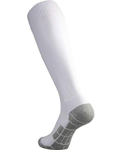 CWVLC Soccer Socks Mens Womens Rugby Sport Softball Team Athletic Knee High Long Tube Cotton Compression Socks White Large (10-13 Women/8-12 Men)