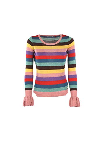 Guess Women Pink Blue Red Green Stripe Glitter Jumper Sweater Top Size S