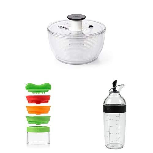 OXO Good Grips Centrifugadora ensaladas 4.0, Plastica, Trasparente+GreenSaver Affetta Verdura Portatile a 3 Lame+Mixer per Dressing per insalate, Nero, 350 ml