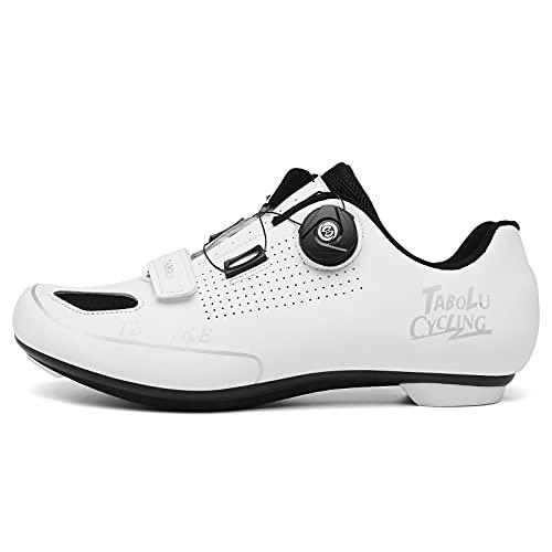 Suiyue Tech. Zapatos de Ciclismo de Carretera Profesional Hombre Mujer Zapatos de Ciclismo de Antideslizantes SPD/SPD-SL Lock System para Bicicleta de Carretera con Estilo de Encaje rápido Giratorio