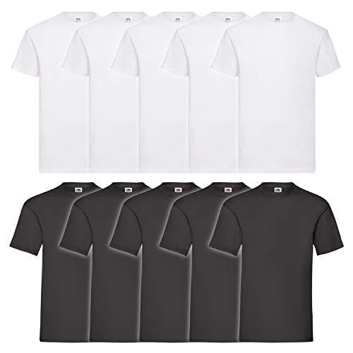 10 Fruit of the loom T Shirts Valueweight T Rundhals S M L XL XXL 3XL 4XL 5XL Übergröße Diverse Farbsets auswählbar (3XL, 5 Weiß / 5 Schwarz)
