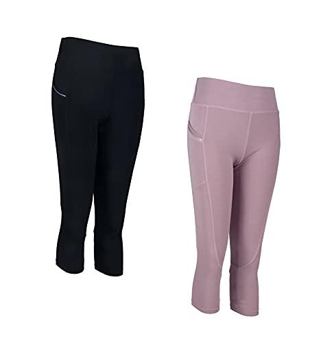 PF Conjunto de ropa deportiva para mujer Leggings deportivos de gimnasio de 2 piezas Leggings elásticos para correr Pantalones de yoga Diseño italiano (9701-Combo2, L-XL, l)