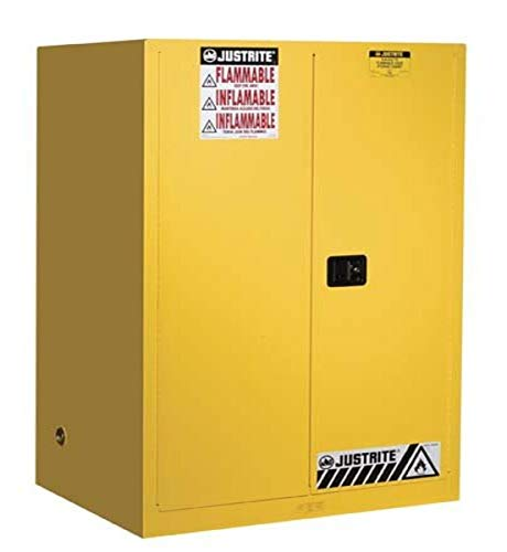 'Justrite 899020 Sure-Grip EX Flammable Safety Cabinet, 2 Door, Self Closing, 65''H x 43''W x 34''D, 90 Gal capacity', yellow