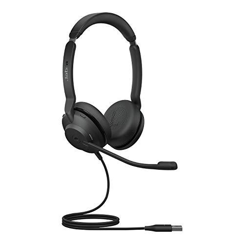 Jabra Evolve2 30 - Auriculares Estéreo con Cancelación de Ruido y Tecnología de Llamada de 2 Micrófonos - Certificados para Microsoft Teams - Cable USB-A - Negro