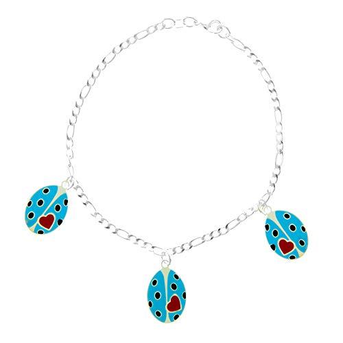 Córdoba Jewels | Pulsera en Plata de ley 925 con diseño Mariquita Blue Love