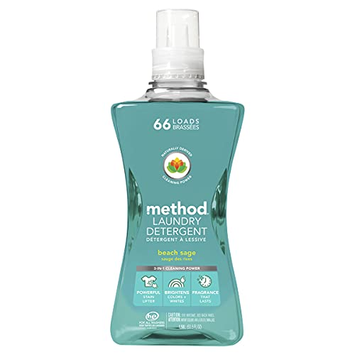 Method Laundry Detergent, Beach Sage, 53.5 Ounces, 66 Loads, 1 pack, Packaging May Vary
