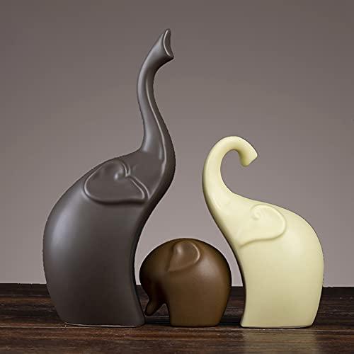 Estatuas Decorativas,Resina Creativo 3Pcs Animal Elefante Figurillas Escultura Diseñada,Escritorio De Inicio Artesanía...