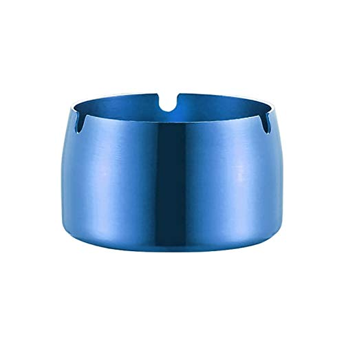 ZZLLFF 1Pc Round Shape Ash Tray Stainless Steel High Temperature Resistant Ashtray Home Desktop Ash Holder Smoking Accessories (Color : Blue)