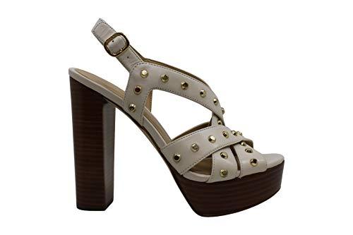 Michael Michael Kors Women's Shoes Audrina Platform Leather, LT Cream, Size 5.5