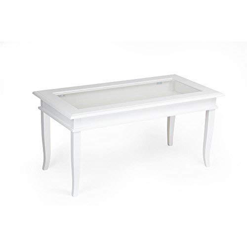 Meubel Fiver klassieke salontafel, hout, wit, 100 x 50 x 45 cm