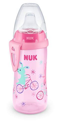 NUK Active Cup Trinklernbecher | 12+ Monate | auslaufsichere Trinkschnabel | Clip & Schutzkappe für unterwegs | 300 ml | BPA-frei | Fahrrad (Rosa)
