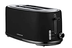 Linsar KY865-2 Slice Toaster with Defrost, Reheat, Cancel Functions and 6 Toast Shade Setting – Black
