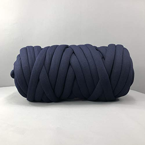 EASTSURE Chunky Braid Cotton Yarn Supre Large for Arm Knitting DIY Handmade Blankets Machine Washable,Navy,0.55LB