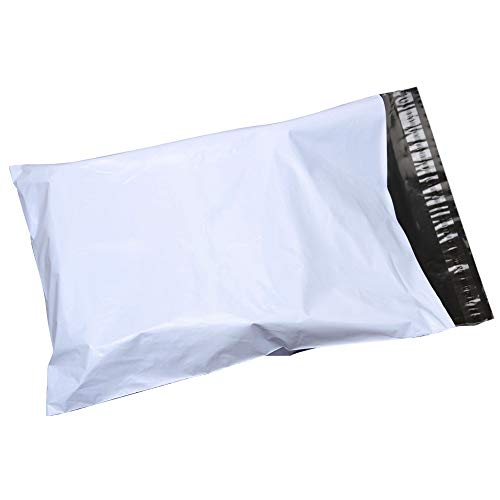 SJPACK 12x15.5-inch Poly Mailers Envelopes Bags, 2.5 Mil White Shipping Bags (500 Bags)