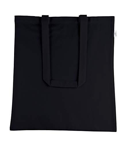 Atmos Green 12 pack 15 X 16 inch with 27 inch long handle BLACK Color Recycled cotton reusable grocery bags 5.5 oz cotton canvas bags eco friendly super strong washable great choice for promotion branding and gift Made in India