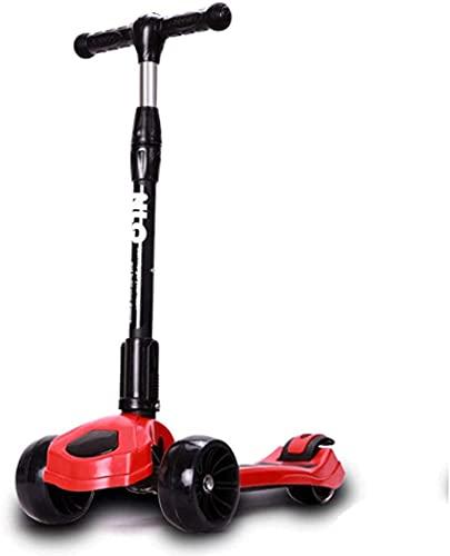 RSTJ Scooter de los niños PU Rueda FO AJUDADERA Ajustable Alaya para Vivir para GIROS para NIÑOS NIÑOS Y NIÑAS DE 3 A 10 (Color : Red)