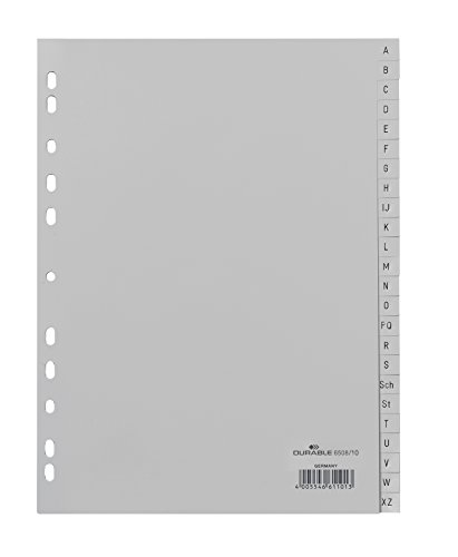 DURABLE Hunke & Jochheim Register, PP, A - Z, grau, DIN A4, volldeckend, 215/230 x 297 mm, 24 Blatt