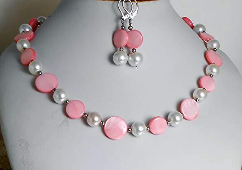 Perlmutt Kette Collier + Ohrhänger in Rosa Weiß mit Glasperlen - Edelstahl Perlen /A257
