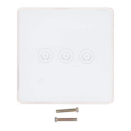 Interruptor de luz Interruptor inteligente de control remoto de teléfono blanco, Panel táctil WiFi compatible con Alexa/Google Home/IFTTT