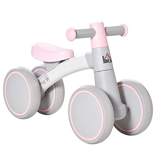 HOMCOM Bicicleta sin Pedales para Niños de 1-3 Años Bicicleta de Equilibrio con 4 Ruedas Ligeras Correpasillos Infantil 60x24x37 cm Rosa