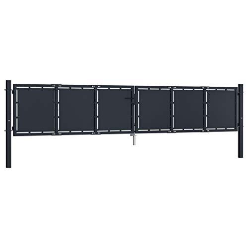 Goliraya Puerta de Jardín de Acero Negro Robusto Estable y Resistente a la Corrosión 400x125 cm