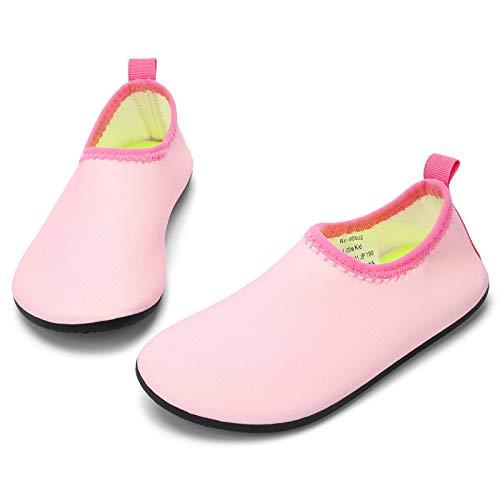 RANLY & SMILY Toddler Girls Water Shoes Non-Slip Kids Aqua Swim for Beach Pool Socks Pink 5-6 M US Toddler