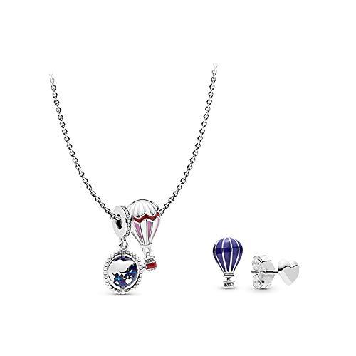 Tanabata Gift Romantic Wish Set S925 Collar de plata Pendientes Guan Xiaotong Mismo globo aerostático Plata de ley Collar de cadena de clavícula 45cm_925 Silver