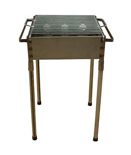 Barbacoa pequeña portátil carbón Cuadrada 33x33 para Carbón y leña, Barbacoa con...