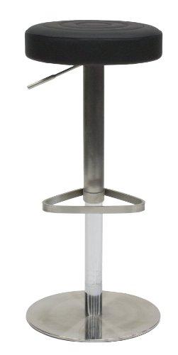 Tenzo 3343-824 Chill - Designer Barhocker rund, Lederoptik, Edelstahluntergestell, höhenverstellbar, Höhe: 55-80 cm, o 38 cm, schwarz