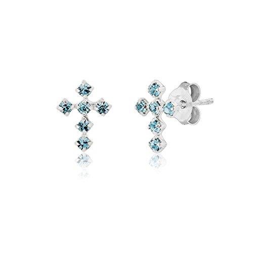DTP Silver - Orecchini a perno a forma di Croce - Argento 925 con Cristalli Swarovski - Colore: Azzurro/Acqua Marina